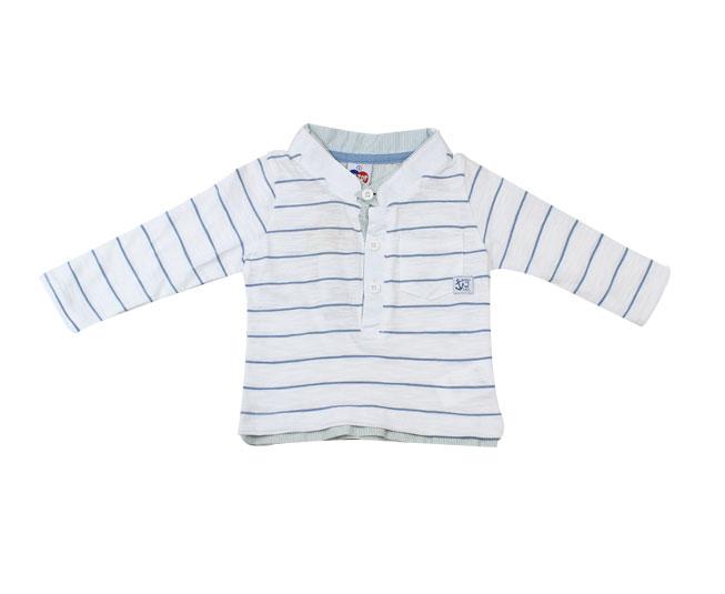 Camiseta Masculina Branca com Listras Azul Tip Top