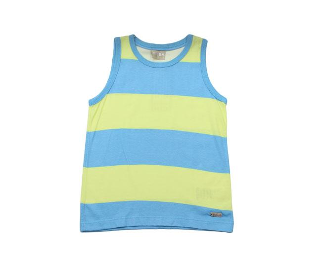 Camiseta Regata Listrada Azul/Verde Milon