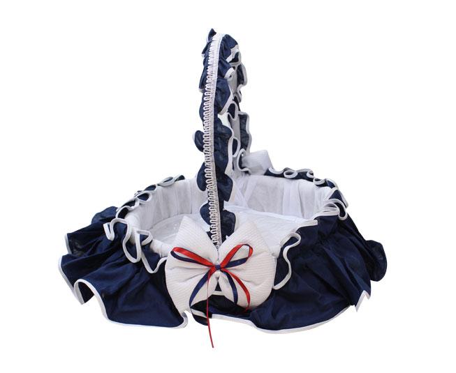 Cesta Azul e Branca + Lacinho Juna Baby