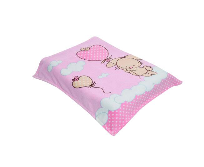 Cobertor Acalanto Estampado Coelhinho com Balões Rosa Colibri