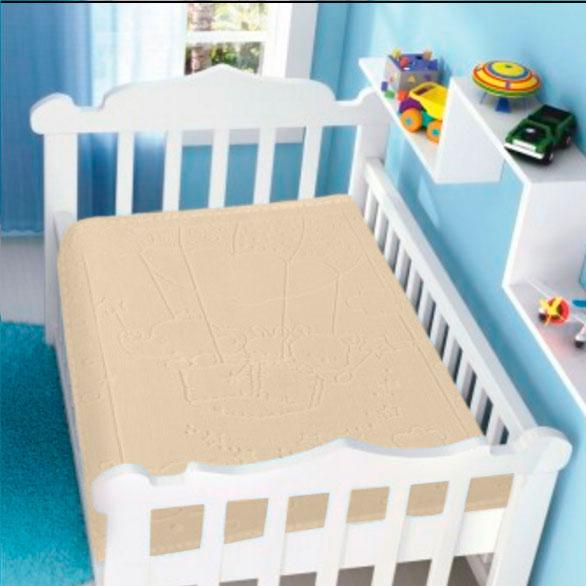 Cobertor Infantil Raschel com Relevo Balão Bege Jolitex Ternille