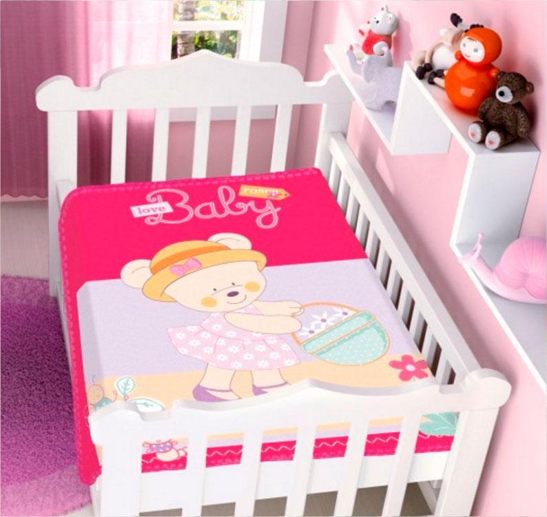 Cobertor Infantil Raschel Ursinha Baby Pink Jolitex Ternille