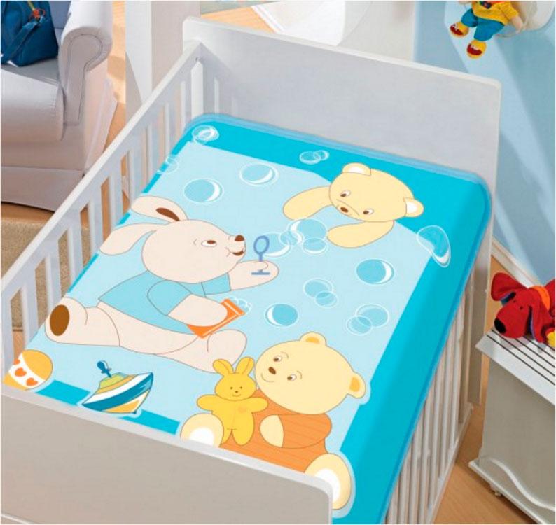 Cobertor Infantil Tradicional Bolinhas de Sabão Azul Jolitex Ternille