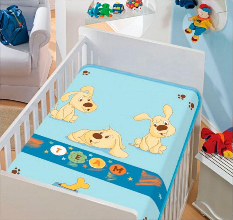 Cobertor Infantil Tradicional Time de Cachorrinhos Azul Jolitex Ternille