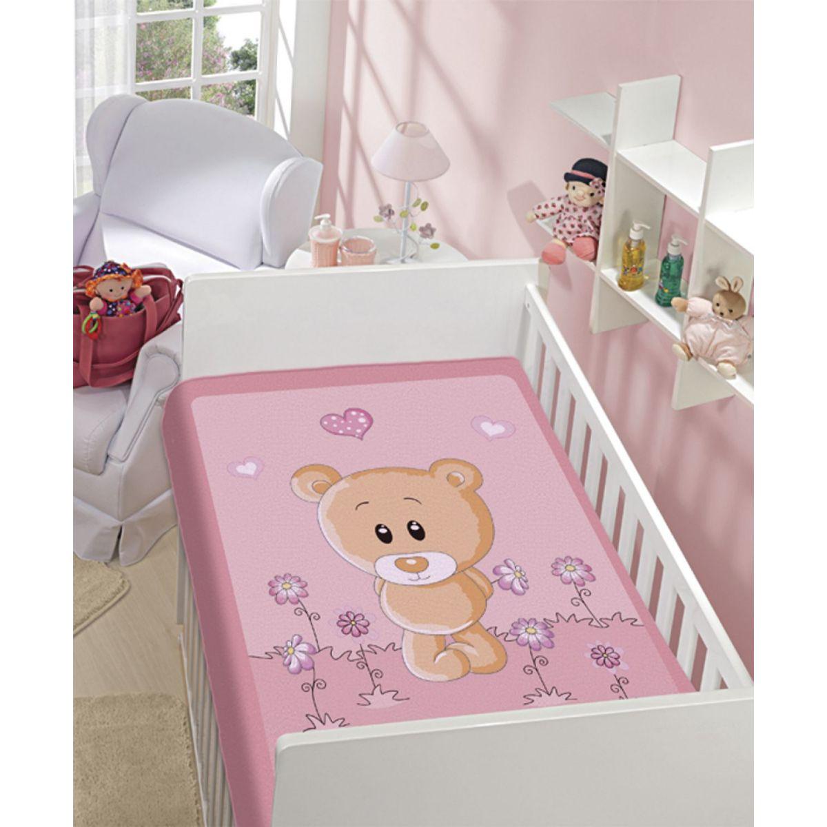 Cobertor Infantil Tradicional Urso nas Flores / Não Alérgico /  Jolitex Ternille