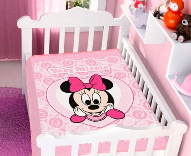 Cobertor Minnie Coração Rosa Raschel Jolitex Ternille