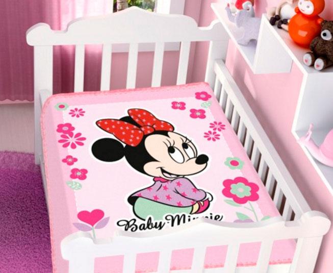 Cobertor Minnie Florzinha Rosa Raschel Jolitex Ternille