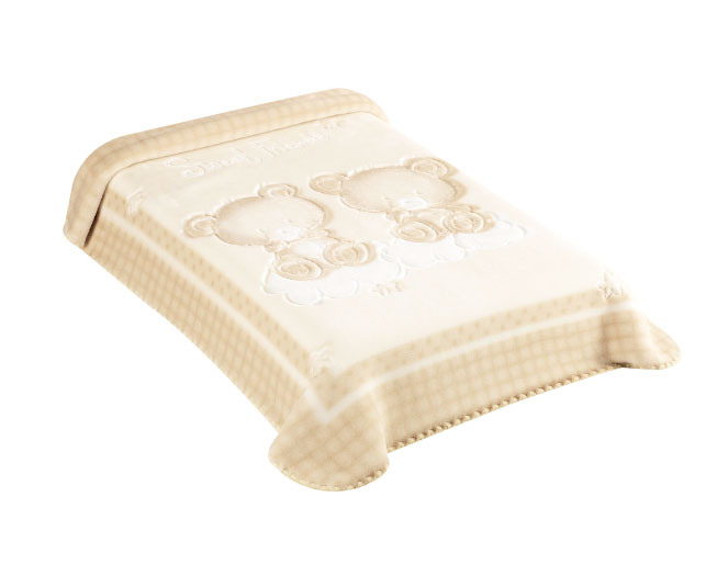 Cobertor Premium Estampado Relevo Ursinhos Bege Colibri