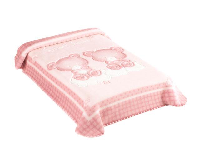 Cobertor Premium Estampado Relevo Ursinhos Rosa Colibri