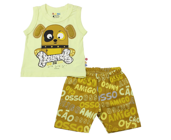 Conjunto Amarelo Cachorrinho Zig Zig Zaa Brandili