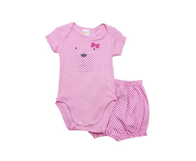 Conjunto de Body Ursinho Feminino Rosa Infantil Best Club