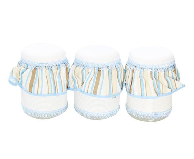 Jogo de Potes Branco Bordado com Listras Azuis Juna Baby