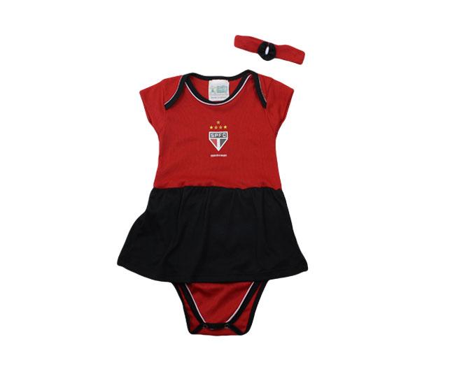 kit Body com Saia Vermelha + Lacinho Oficial São Paulo Torcida Baby