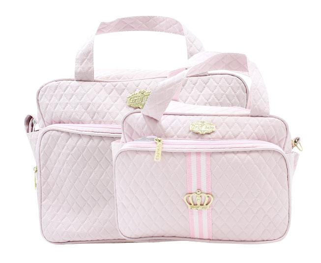 Kit Bolsa Maternidade Rosa Coroa Faixas Griff Baby