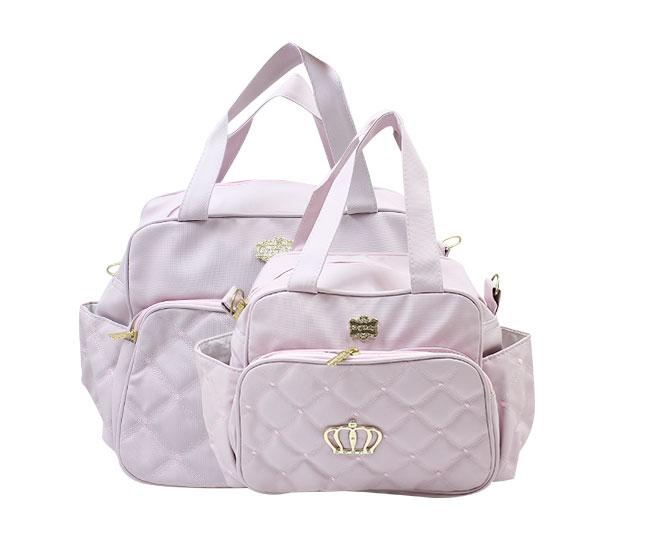 Kit Bolsa Maternidade Rosa Coroa Griff Baby
