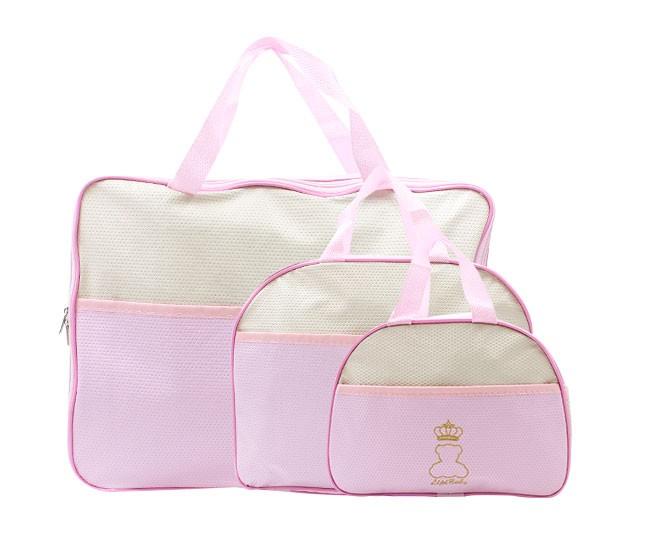 Kit Bolsa Maternidade Rosa Ursinho Coroa Lipi Baby