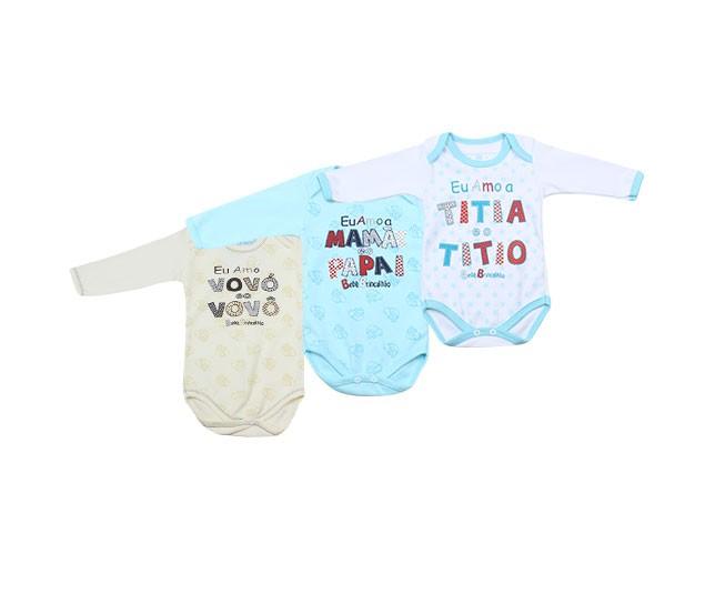 Kit com 3 Bodys Masculino Amo Vovó/Mamãe/Titia Manga Longa RN Bebê Brincalhão