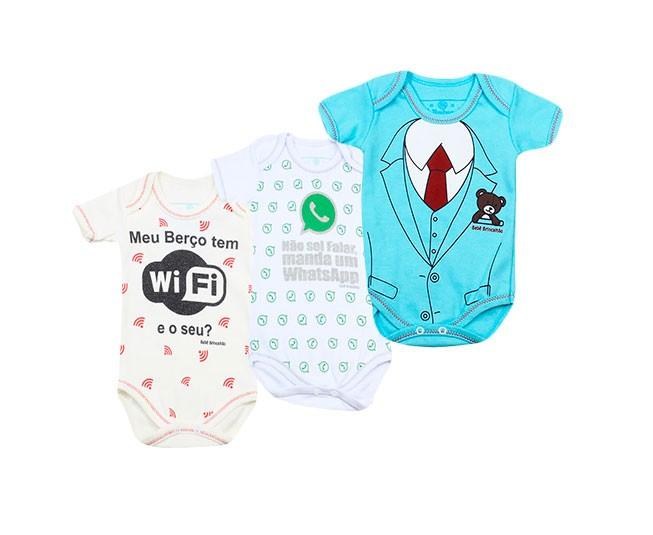 Kit com 3 Bodys Masculino Whatsapp/Wi-fi/Doutor Meia Manga RN Bebê Brincalhão