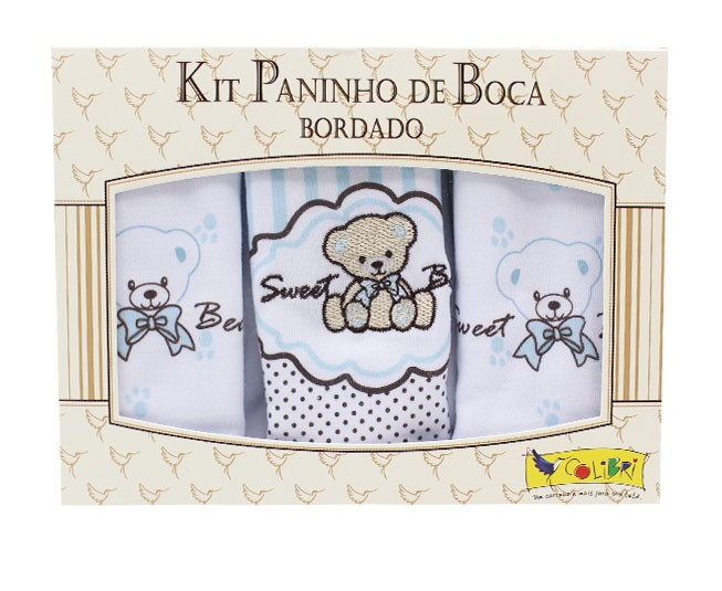 Kit Paninho de Boca Bordado Sweet Bear Azul Colibri