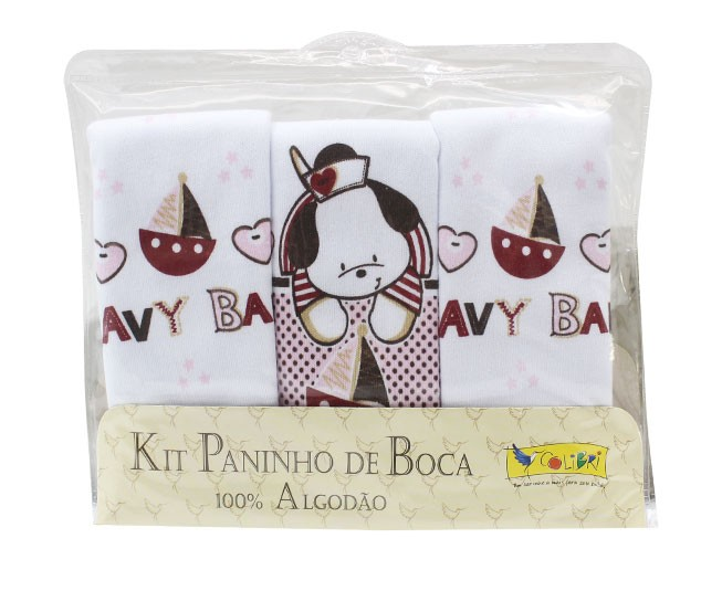 Kit Paninho de Boca Navy Baby Rosa Colibri
