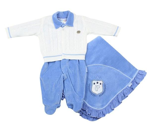 Kit Saída de Maternidade Creme com Azul Paraíso