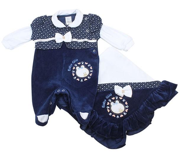 Kit Saída de Maternidade Feminino Ursinha Azul Marinho Baby Cijo