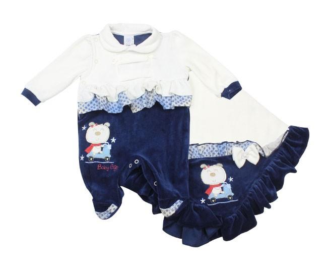 Kit Saída de Maternidade Feminino Ursinha na Moto Branco e Marinho Baby Cijo