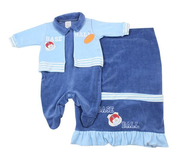 Kit Saída de Maternidade Masculino Baseball Azul Baby Cijo