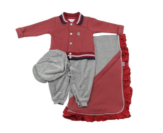 Kit Saída de Maternidade Masculino Brasão Vermelho e Cinza Paraíso