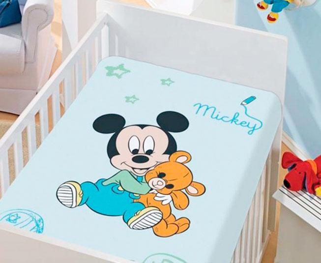 Manta de Microfibra Infantil Mickey com Ursinho / Não Alérgico / Jolitex Ternille Disney