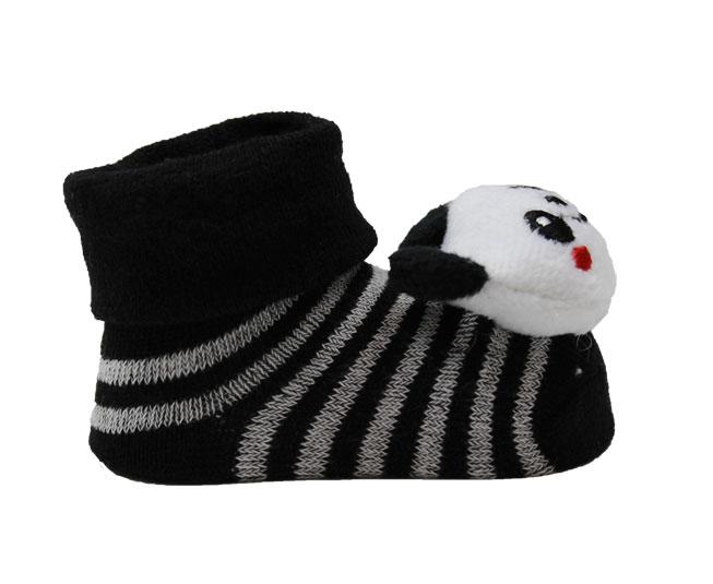Meia Sapatilha Bebê Urso Panda Listrinhas Branca e Preto Pimpolho