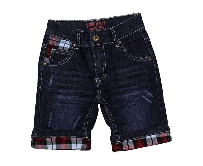 Short Jeans com Detalhes em Xadrez Sonho Mágico