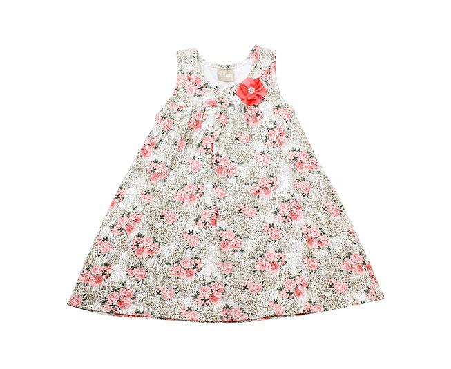 Vestido Regata Infantil Florido com detalhe de Rosa Milon