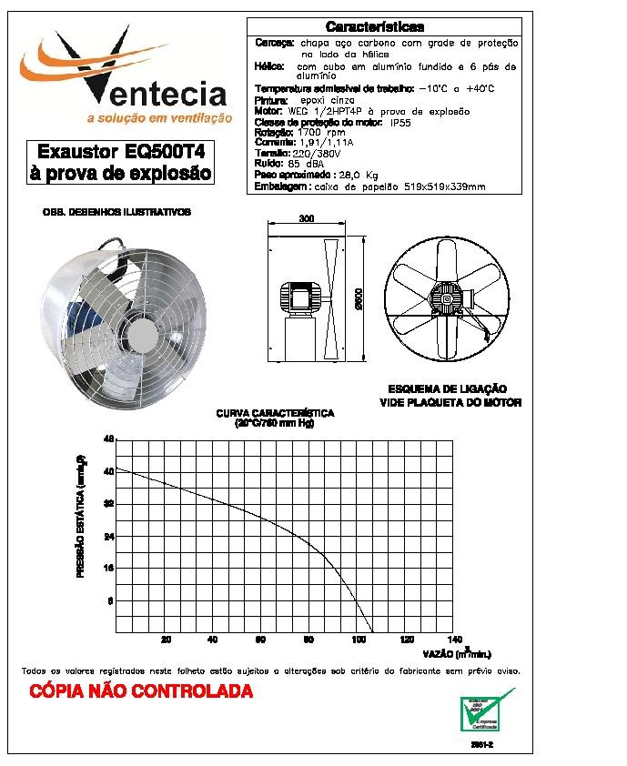 EXAUSTOR AXIAL EQ500T4 A PROVA DE EXPLOSÃO