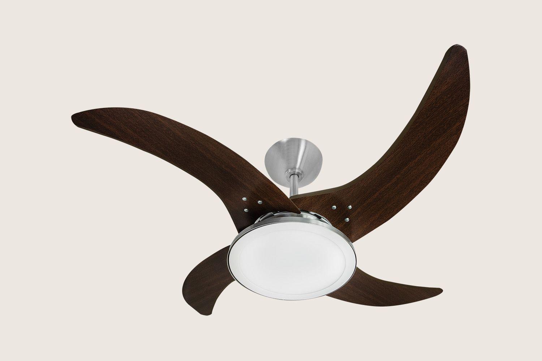 Ventilador de Teto Aço Escovado Marrom Led 127v