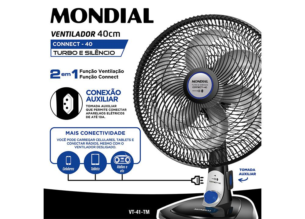 Ventilador Turbo Tech 40cm – Tomada Integrada 127v