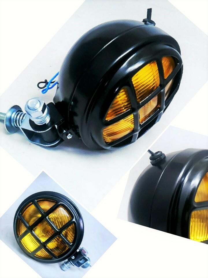 Farol Com Grade / Luz alta e baixa + meia Luz + chave liga/Desliga - Café Racer