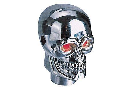 Manopla Bola De Cambio Tuning Caveira Skull Cromada Com Led