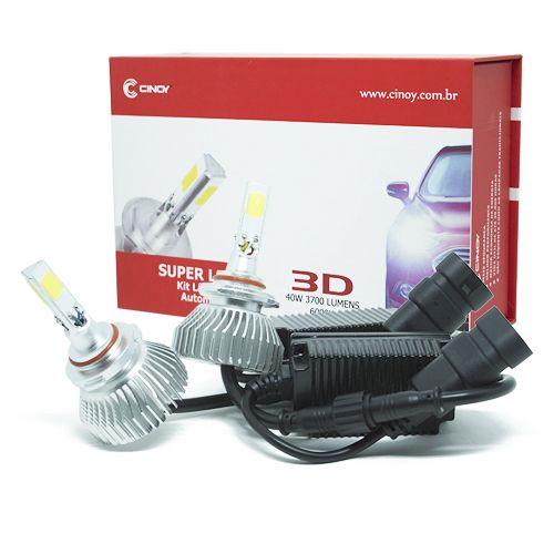 PAR LÂMPADA SUPER LED  3D HB3 9005 6000K  7400 LUMENS 12V 24V 40W CINOY