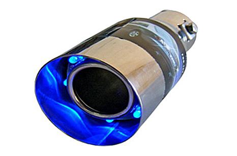 Ponteira Cromada Universal com led Neon Azul