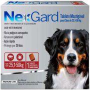 Antipulgas e Carrapatos Merial NexGard 136 mg para Cães de 25,1 a 50 Kg (1 comprimido individual)