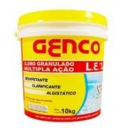 Cloro Genco L.E granulado Múltipla ação 3 em 1 Balde 10kg - Piscinas