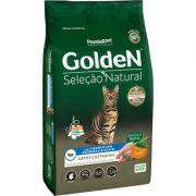 Ração Golden Premier Seleção Natural Frango, Abóbora e Alecrim para Gatos Castrados 3K
