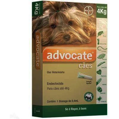 Antipulgas Bayer Advocate para Cães até 4 Kg - 0,4 mL (1 Bisnaga)