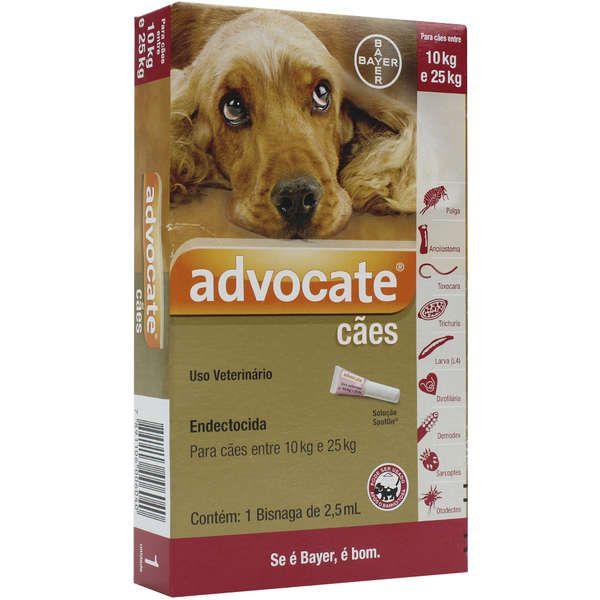 Antipulgas Bayer Advocate para Cães de 10 a 25 Kg - 2,5 mL (1 Bisnaga)