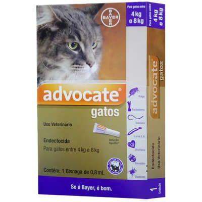Antipulgas Bayer Advocate para Gatos de 4 a 8 Kg - 0,8 mL (1 Bisnaga)