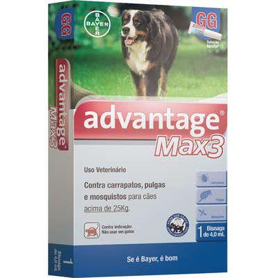 Antipulgas e Carrapatos Bayer Advantage MAX3 para Cães Acima de 25 Kg - 4 mL (1 Bisnaga)