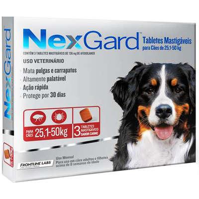 Antipulgas e Carrapatos Merial NexGard 136 mg para Cães de 25,1 a 50 Kg (3 Comprimidos)