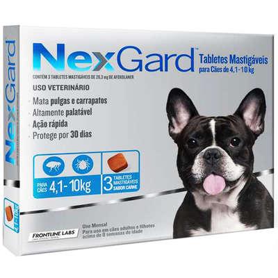 Antipulgas e Carrapatos Merial NexGard 28,3 mg para Cães de 4,1 a 10 Kg (3 comprimidos)