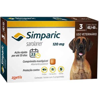 Antipulgas Zoetis Simparic 120 mg para Cães 40,1 á 60 Kg